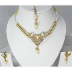 White Crystal Necklace Earring and Tikka Jewelry Set
