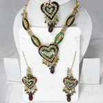 Heart of Hearts Crystal Necklace Earring and Tikka Jewelry Set