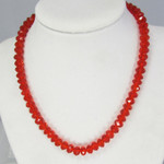 Plastic Crystal Necklace - Red Beads