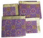 Set of Four Purple Embroidered Rumala Saheb Cloths