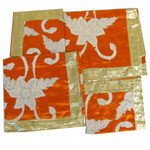 Set of Four Orange Embroidered Rumala Saheb Cloths