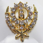 Gold Colored Khanda Turban Pin with Crystals