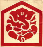 Red Vinyl Ganesh Sticker