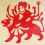 Red Vinyl Goddess Durga Tiger Mother Sticker