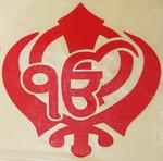 Red Vinyl Sikh Ek Onkar Khanda Sticker