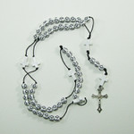 White Plastic Rosary Mala with Crosses