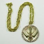 Gold Tone Khanda Circle Necklace