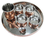 Copper plated Stainless Steel Thali Serving Set