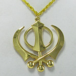 """Large Gold Colored Khanda Necklace with 16"""" chain"""