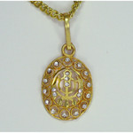 Gold Color Khanda Pendant with Crystals