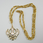 Large Crystal Gold Colored Khanda 38 inch Necklace