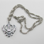 Large Crystal Silver Colored Khanda 32 inch Necklace