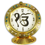 Ek Onkar Symbol Clock with Cyan Stones