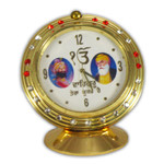 Guru Gobind Singh & Guru Nanak Clock Icon with Red Stones