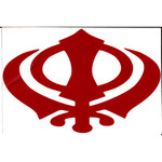 Red Vinyl Khanda Decal 9x6 Inches