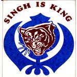 Blue Vinyl Khanda Decal Singh Is King 5x5 Inches