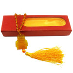 Deluxe Tassled Amber Golden Temple Mirror Ornament