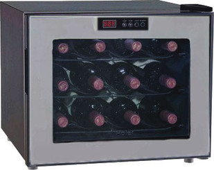 Haier 12-Bottle Capacity Thermoelectric Onyx w/ Platinum Frame Wine Cellar - HVUE12ABS