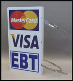 Image of check acceptance sign, includes VISA and EBT