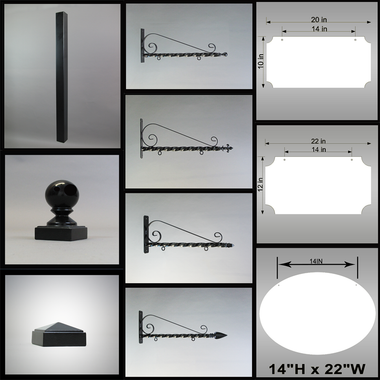 "Assorted components for BUILD-IT 2"" POST DISPLAY, choose from components selection on menu to create your sign display."