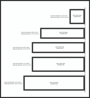 standard tubular aluminum frame sizes available