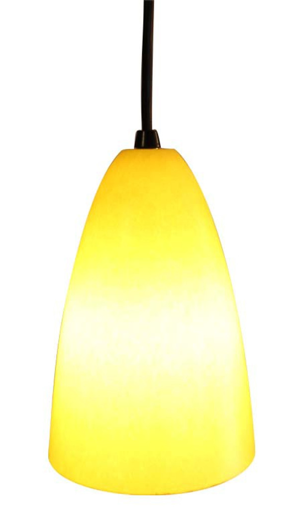 Retro Bullet Pendant shown with yellow shade and black hardware.