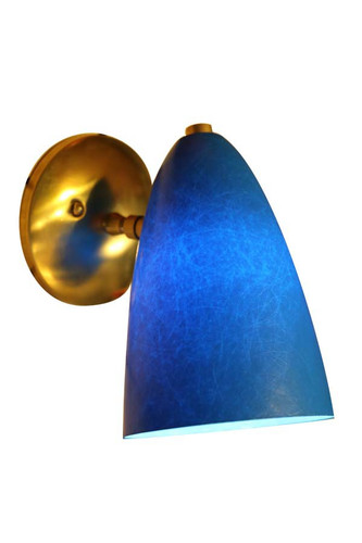 Single Retro Bullet Sconce shown here with blue molded fiberglass shade and premium brass hardware option.