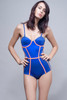 blue corset bodysuit low cut with contrasting orange trims L (ONLY ONE LEFT)