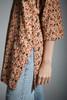 vintage 70s hippie boho tunic cotton top batik block print beige black red SMALL MEDIUM S M