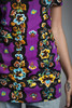 vintage 70s tunic top purple yellow floral print short sleeves SMALL S