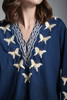 vintage 70s butterfly embroidery cotton tunic top hippie boho flare sleeves LARGE L