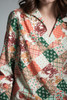vintage 70s hippie cotton top patchwork quilt print long sleeves SMALL S