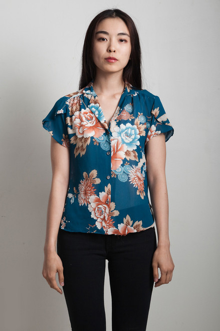 vintage 70s blue floral top sheer asian mandarin collar SMALL S