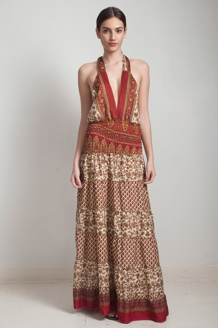 OOAK bohemian silk sari halter tiered maxi dress deep plunging open back floor length flowy red cream floral ONE SIZE S M L