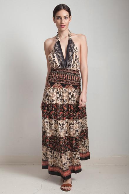 OOAK silk scarf dress bohemian sari halter tiered maxi deep plunging open back floor length flowy black cream floral paisley ONE SIZE S M L