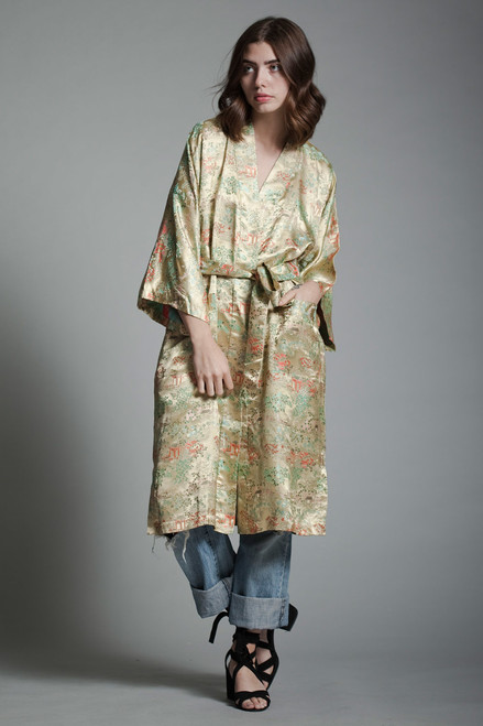 vintage damask gold robe chinoiserie Asian Oriental motif matching belt ONE SIZE S M L