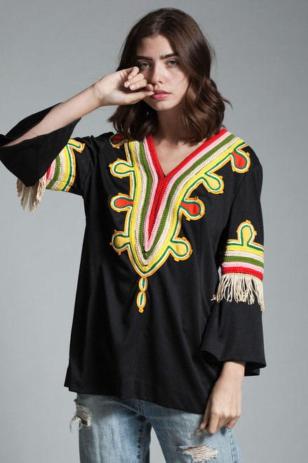 vintage 70s boho hippie tunic top dashiki embroidery trim fringes bell sleeves black yellow red LARGE L