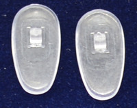 """Push-On PVC poly vinyl chloride Semi-Soft """"Tear drop"""" Shape 13/14mm in 25 pairs in bag. Please note overall length ranges from 13+mm to 14mm. Mix-N-Match Nose pads pricing on 25 pair bags $7.25 per bag on 4 to 15 bags, $6.19 on 16 -39 bags and $5.50 on 40+ that equals $100 pairs for $29 or 400 pair at $99 Final price determined by """"Shopping Cart Total"""" of """"Premium Nose Pads"""""""