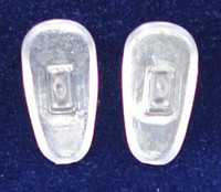 "Push-On PVC poly vinyl chloride Semi-Soft ""Tear Drop"" Shape 15/16mm in 25 pairs in bag, Please note the size on this pad can vary from 15mm+ to 16mm  Mix-N-Match Nose pads pricing on 25 pair bags  $7.25 per bag on 4 to 15 bags, $6.19 on 16 -39 bags and $5.50 on 40+ that equals  $100 pairs for $29 or 400 pair at $99  Final price determined by ""Shopping Cart Total"" of ""Premium Nose Pads"""