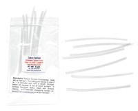 """Temple Shrinkable Covers Clear 3/32"""" Core inside diameter before shrinking, Length 4"""" Long in 6 pairs in bags  Heat shrink tubing for temple or cable repairs. As heat is applied this specially selected material for use on Eyewear will reduce in size at least to half its original size (diameter). A great way to cover without replacing a worn, discolored or damaged temple tip. Sold in 6 pair packs Shrinkable Temple Covers Processing: Heat with a heat gun (hair dryer on high) the tubing will reduce in size 2 to 1 in diameter and 10% in length  Pricing $4.50 for 1 to 5 bags, $3.25 for 6 or more bags Min-N-Match pricing on this group"""
