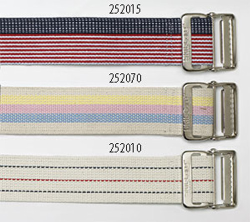 Cotton Gait Belt, Heavy Duty Webbing, Delrin Buckle - Pinstripe
