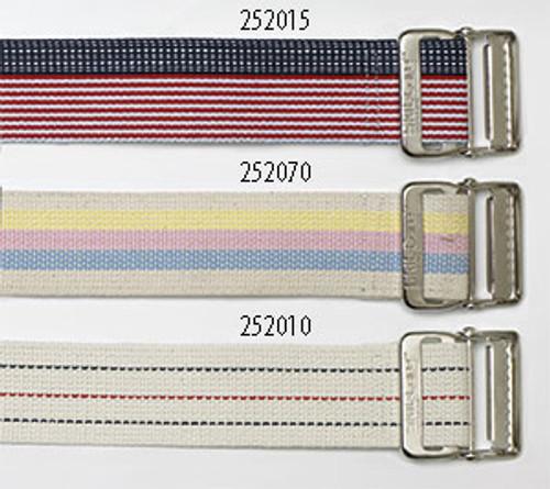 """Cotton Gait Belt, 72"""", Heavy-Duty Webbing, Metal Buckle - Pastel Stripes"""