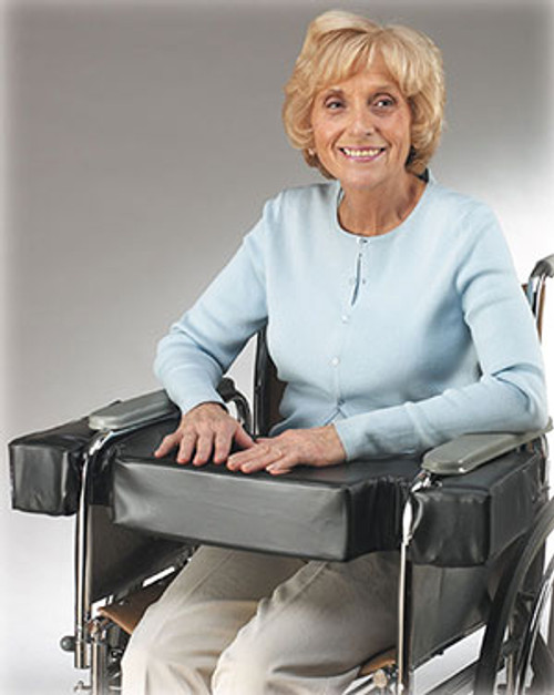"""Lap Top 4"""" Thick Cushion w/Cutouts for Half-Arm Wheelchairs, Fits 16"""" W/C"""