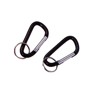 2 - 60mm Accessory Carabiners with Keyring - Black