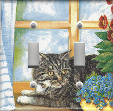 Silver Tabby Cat in Window - Double Switch