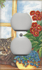 Silver Tabby Cat in Window - Outlet