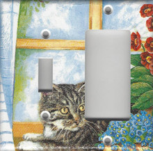 Silver Tabby Cat in Window - Double Combo Switch & GFI/Rocker