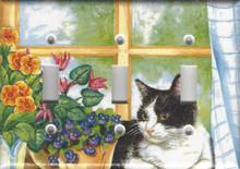 Black & White Cat in Window - Triple Switch