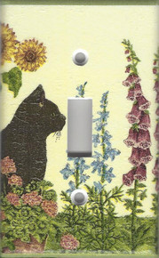 Black Cat in Garden Single Switch