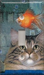 Cat with Fish Bowl - Single Switch